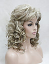 Femme Perruque Synthetique Sans bonnet Mi Longue Frises Blond Avec Frange Perruques sans bonnet Perruque Halloween Perruque de carnaval