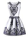 Dame Casul/Zilnic Vintage Teacă Rochie-Imprimeu Fără manșon Rotund Sub Genunchi Alb Poliester Toate Sezoanele Talie Medie Inelastic Mediu