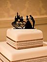 Tortadísz Klasszikus téma Klasszikus pár Akril Esküvő val vel Virág 1 Ajándékdoboz