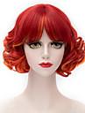 Syntetiskt hår peruker Med lugg Karneval peruk Halloween Paryk Partyperuk Capless peruker Korta Röd