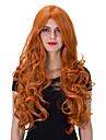 人工毛ウィッグ カール レッド オレンジ 合成 女性用 レッド かつら 非常に長いです キャップレス