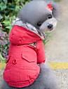 Katt Hund Kappor Huvtröjor Hundkläder Håller värmen Vindtät Enfärgad Röd Blå Kostym För husdjur