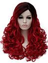 人工毛ウィッグ ウェーブ レッド Black / Red 合成 女性用 ダークルート / サイドパート レッド かつら ミディアム キャップレス