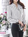 Femei Guler Cămașă Bluză Elegant Simplu(ă),Dungi Manșon Lung Toamnă-Alb Mediu