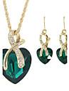Pentru femei Cercei Rotunzi  Coliere cu Pandativ Colier / cercei Inimă La modă costum de bijuterii Ștras Aliaj Heart Shape Coliere