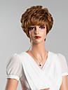 Human Hair Capless Parykar Äkta hår Lockigt Med lugg Korta Peruk Dam