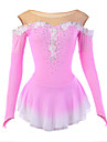 Figure Skating Dress Women's Girls' Ice Skating Dress Pink Flower Halo Dyeing Spandex Mesh High Elasticity Competition Skating Wear Breathable Handmade Novelty Fashion Dumb Light Long Sleeve Ice