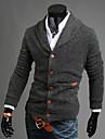 Bărbați Ieșire / Casul/Zilnic Simplu(ă) / Șic Stradă Regular Cardigan-Mată Albastru / Negru / Gri Manșon Lung În V Bumbac Toamnă / Iarnă