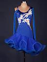 Latein-Tanz Kleider Damen Leistung Elasthan / Organza Rueschen / Blume / Farbaufsatz Langarm Hoch Kleid