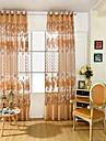Margine cu inele de trecere Un Panou Tratamentul fereastră Neoclasic European Floare Sufragerie PVC Material Sheer Perdele Shades Pagina
