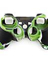 Etui de Protection en Silicone Style Camouflage pour Manette PS3 - Vert et Noir