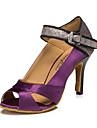 Damă Latin Jazz Pantofi Dans Modern Piele Adidași Antrenament Exterior Toc Îndesat Mov Culoarea pielii 6cm Personalizabili