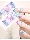 1 Nail Art-klistermärken Vattenövergångsklistermärke Blomma Tecknat Vackert makeup Kosmetisk Nail Art-design