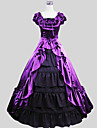 Victorian Costume Women\'s Outfits Purple Vintage Cosplay Charmeuse Short Sleeves Cap Ankle Length