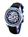 Ανδρικά Μοδάτο Ρολόι Διάφανο Ρολόι μηχανικό ρολόι Δέρμα Μαύρο / Ασημί / Αναλογικό Πολυτέλεια Καθημερινό - Ασημί Κόκκινο Μπλε