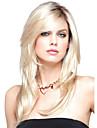 Femme Perruque Synthetique Mi Longue Ondule Blond Racines foncees Partie laterale Coupe Degradee Avec Frange Perruque Naturelle Perruque