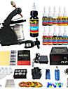 Tattoo Machine Startkit 1 x legerings tatueringsmaskin för linjering och skuggning LED strömförsörjning 2 x Aluminium handtag 20 st