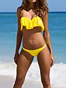 Femei Bikini Femei Bustieră Volane Solid Dantelat Nailon Polyester