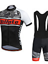 Miloto Men\'s Short Sleeve Cycling Jersey with Bib Shorts Bike Shorts Bib Shorts Jersey Breathable 3D Pad Quick Dry Reflective Strips Sweat-wicking Sports Polyester Silicon Geometry Mountain Bike MTB