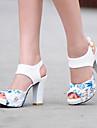 Pentru femei Pantofi Microfibre Primăvară / Vară Sandale Toc Îndesat Pantofi vârf deschis Flori Rosu / Verde / Albastru / Party & Seară / Party & Seară