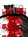 Seturi Duvet Cover Floral 4 Piese Imprimeu reactiv 4pcs (1 Plapumă Duvet, 1 Cearceaf Plat, 2 Shams)