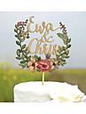 Vârfuri de Tort Personalizat Cuplu Clasic Acrilic Plastic Dur Hârtie cărți de masă Nuntă Aniversare Petrecerea Bridal Shower GalbenTemă