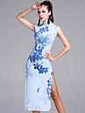 الرقص اللاتيني الفساتين نسائي أداء نايلون / فسكوزي نموذج / طباعة بدون كم ارتفاع متوسط فستان