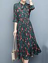Mousseline de Soie Robe Femme Quotidien Grandes Tailles Decontracte,Fleur Mao Maxi Polyester Ete Taille Normale Micro-elastique Moyen