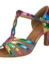 Damă Salsa Imitație de Piele Sandale Călcâi Performanță Manșetă Dantelă Cataramă Toc Personalizat Curcubeu Toc Personalizat