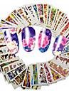 48pcs/set Fleur / Decalques pour ongles Autocollants & Scotch / Autocollant de transfert d\'eau / Autocollant pour ongles Nail Art Design