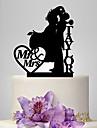 Vârfuri de Tort Personalizat Cuplu Clasic Acrilic Nuntă Aniversare Roșu Auriu Argintiu Negru Temă Clasică OPP