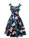 Pentru femei Zilnic Ieșire Vintage Little Black Sub Genunchi Rochie, Floral Plisată Fără manșon Rotund Vară