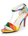 Sandale Vară Pantofi Club Materiale Personalizate Imitație de Piele Catifea Birou & Carieră Rochie Casual Toc Stiletto CataramăNegru Alb