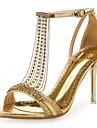 Pentru femei Pantofi Microfibră PU sintetică / Luciu Vară / Toamnă Confortabili / Noutăți Sandale Toc Stilat Piatră Semiprețioasă Alb /