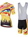 Miloto Cykeltröja med Haklapp-shorts Unisex Kortärmad Cykel Vadderade shorts Bib Tights Tröja Cykelkläder Kompression 3D Tablett