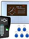 7 LCD inspelningen hd 1000tvl DVR fingeravtrycksigenkänning video porttelefon intercom-system kit