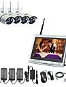 strongshine® 4ch h.264 trådlös nvr med 11 tums skärm 960p vattentät infraröd IP-kamera övervakningssystem kit