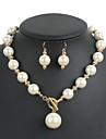 Pentru femei Seturi de bijuterii Euramerican Nuntă Petrecere Ocazie specială Zilnic Perle Rotund 1 Colier 1 Pereche de Cercei