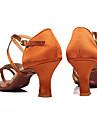 Pentru femei Pantofi Dans Latin / Sală Dans Satin / Imitație de Piele Sandale / Călcâi Cataramă Toc Personalizat Personalizabili Pantofi de dans Camel / Maro / Piele de Căprioară / Interior