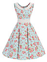 Damă Casul/Zilnic Vintage Swing Rochie-Floral Fără manșon Rotund Lungime Genunchi Bumbac Toate Sezoanele Talie Medie Inelastic Mediu