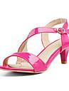 Γυναικεία Παπούτσια PU Άνοιξη / Καλοκαίρι Λουράκι στη Φτέρνα Σανδάλια Στρογγυλή Μύτη Αγκράφα Λευκό / Μαύρο / Κόκκινο