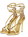 Pentru femei Pantofi PU Primăvară / Vară Confortabili / Noutăți Sandale Plimbare Toc Stilat Vârf deschis Cataramă Auriu / Argintiu / Nuntă / Party & Seară / Party & Seară