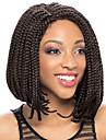 Syntetiska snörning framifrån Afrikanska flätor Flätad peruk Afro-amerikansk peruk Sidodel Naturlig hårlinje Svart Dam Spetsfront