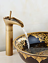 Antik Centerset Vattenfall Utbredd Keramisk Ventil Singel Handtag Ett hål Antik koppar, Badrum Tvättställ Kran