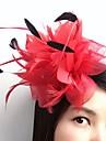 Pluma Red Fascinators Flores Para la Cabeza Pinza para el cabello with Flor 1pc Boda Ocasion especial Casual Celada