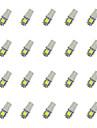 20pcs t10 5 * 5050 smd condus de lumină auto bec bec alb dc12v