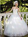 Salon Escote Corazon Hasta el Suelo Encaje / Tul Vestidos de novia hechos a medida con Lentejuela / Apliques por LAN TING BRIDE® / Centello y Brillo