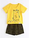 Unisex Set Îmbrăcăminte Imprimeu Animal Bumbac Zilnic Vară Manșon scurt Galben