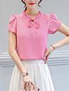 Damă Stil Nautic Bluză Ieșire Vintage,Mată Manșon scurt Primăvară Vară-Subțire Poliester
