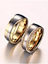 Pentru femei Inele Cuplu Zirconiu Cubic imitație de diamant Iubire de Mireasă Zirconiu Oțel titan Placat Auriu Iubire Bijuterii Pentru